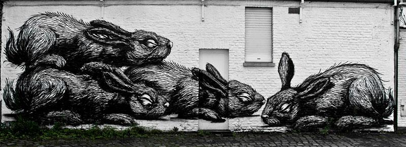Street Art Ghent Belgium ROA FatCap